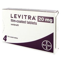 Pack of 4 Levitra 20mg vardenafil film-coated tablets