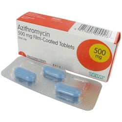 Box of Azithromycin tablets with blister pack