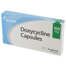 Box of Doxycycline 100mg capsules