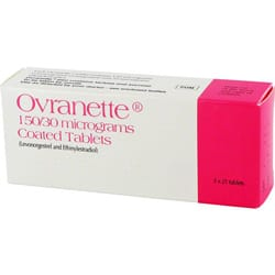 Pack of 63 Ovranette 150/30 micrograms levonorgestrel/ethinylestradiol tablets