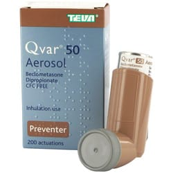 Box of Qvar 50 Aerosol containing CFC Free beclometasone dipropionate inhalation preventer