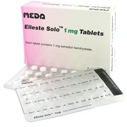 Pack of 84 Elleste Solo 1mg estradiol hemihydrate tablets with blister packs